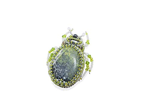 Bead Embroidered Scarab Beetle Brooch with Yellow Turquoise and Black Freshwater Pearl. Lime Green Bug Insect Beetle ()