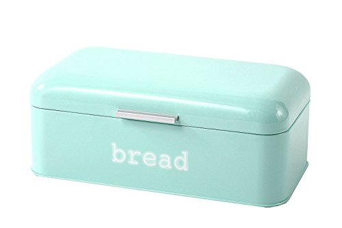 Bread Box for Kitchen Counter - Stainless Steel Bread Bin, Dry Food Storage Container for Loaves, Pastries, Toast and More - Retro Vintage Design, Turquoise, 16.75 x 9 x 6.5 inches