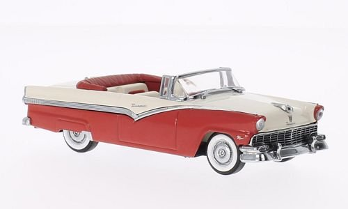 Ford Fairlane Convertible, red/white, 1956, Model Car, Ready-made, Vitesse 1:43