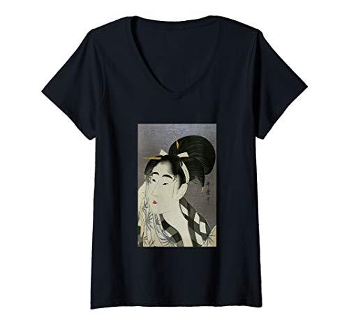 Womens Utamaro Ukiyoe Japanese Art Bijin Wiping Sweat V-Neck T-Shirt