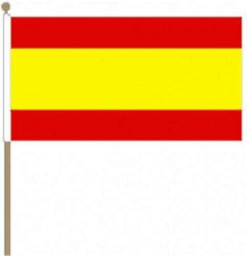 Flagmania® Pack de 12 Banderas de España sin Escudo (12 x 18 Pulgadas) de Mano Grande + botón de 59 mm: Amazon.es: Jardín
