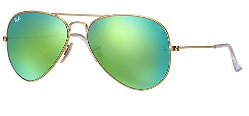 Ray Ban RB3025 112/19 55M Matte Gold/ Green Mirror Multi Green Aviator + FREE Complimentary Eyewear Care ()
