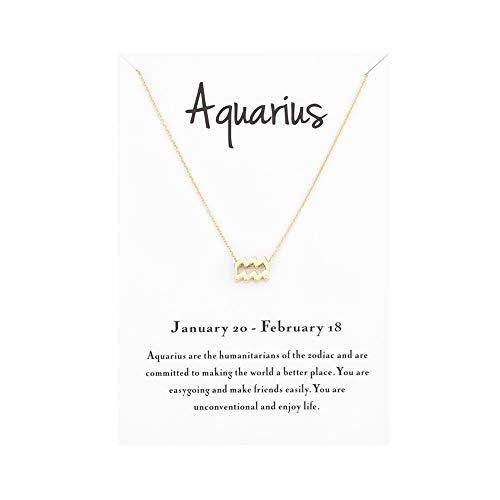 Mocya Aquarius Zodiac Necklace Women Jewelry Horoscope Constellation Pendant Astrology Birthday Gifts