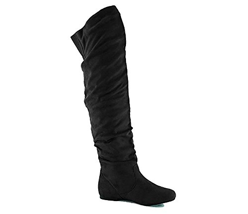 Nature Breeze Women's Stretchy Thigh High Boot Black Suede
