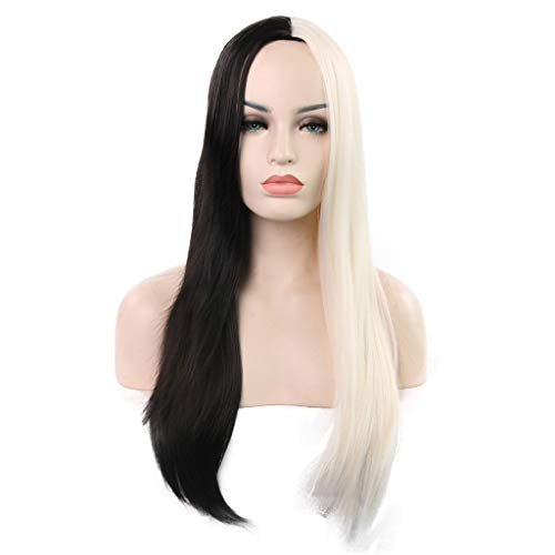 Aleola Long Straight Women Girls Charming Full Wigs for Cosplay Party or Daily Use with Wig Cap (Black Mixed White) ()