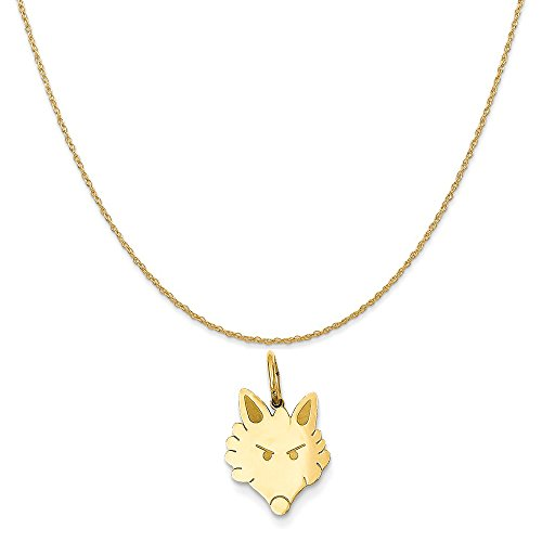 Mireval 14k Yellow Gold Polished Fox Head Charm on a 14K Yellow Gold Rope Chain Necklace, (Yellow Gold Fox)