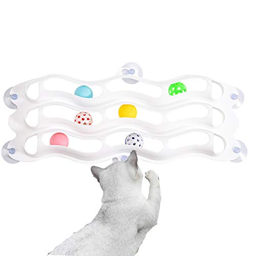 FengXing Cat Toys – Cat Track Toy Ball and Bell with 3 Layers, Cat Toys Interaction Play Attracts Fun and Exercise for…