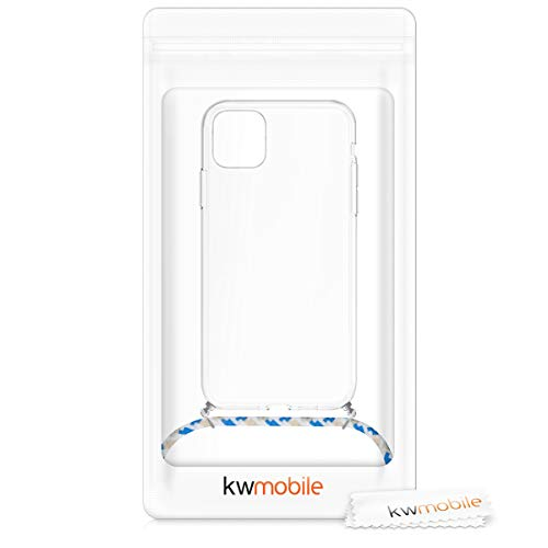 kwmobile Crossbody Case Compatible with Apple iPhone 11 Pro Max - Clear Transparent TPU Cell Phone Cover with Neck Cord Lanyard Strap - Transparent/Blue/White