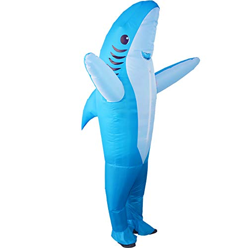 HUAYUARTS Inflatable Costume Blow up Costume Shark Game Fancy Dress Halloween Jumpsuit Cosplay Outfit Gift,Adult (Adult, Shark-Blue-Adult)]()