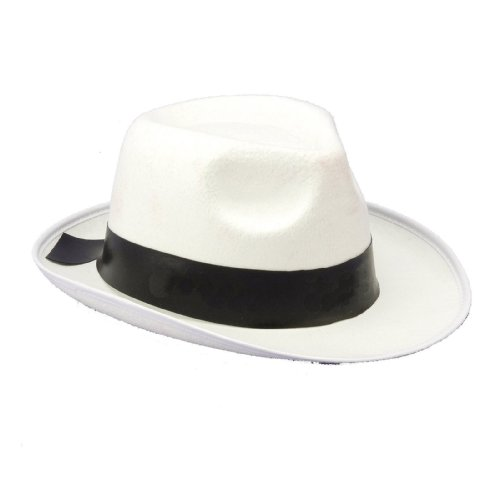 [White Gangster Hat] (Fedora Gangster Hat)