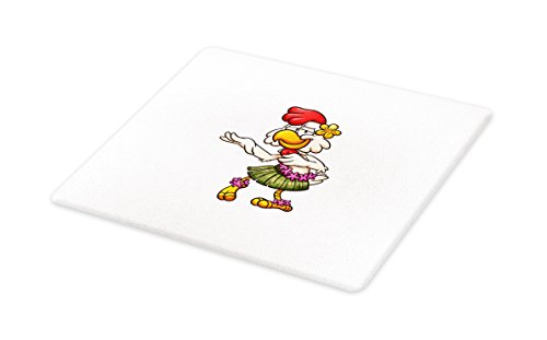 Lunarable Chicken Cutting Board, Hawaiian Dancer Chick with Grass Skirt and Ornate Flowers Funny Cartoon Character, Decorative Tempered Glass Cutting and Serving Board, Large Size, (Grass Table Skirts Cheap)