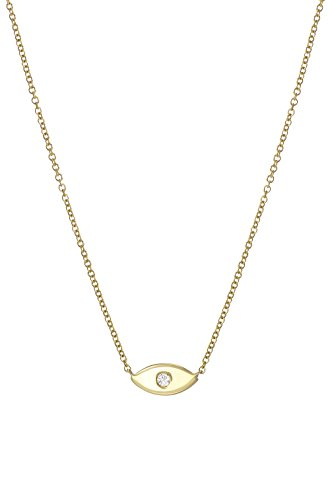 14k Diamond evil eye necklace by Zoe Lev Jewelry
