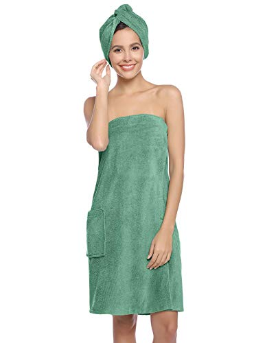 Zexxxy Women Bath Wrap Spa Towel with Hair Towel Adjustable Closure Shower Robes