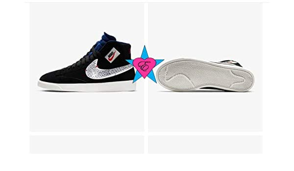 Amazon.com  Custom Crystal Bedazzled Women Black Nike Blazer Mid Rebel  Skate board Shoes  Handmade fa06d3f2bf