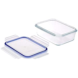 Amazon Brand – Solimo Rectangular Glass Storage Container Set, 900ml, Set of 3, Transparent