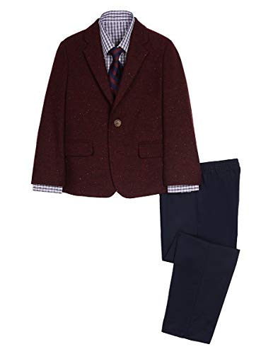 Nautica Boys' 4-Piece Suit Set with Dress Shirt, Tie, Jacket, and Pants, bright burgundy/red, 4