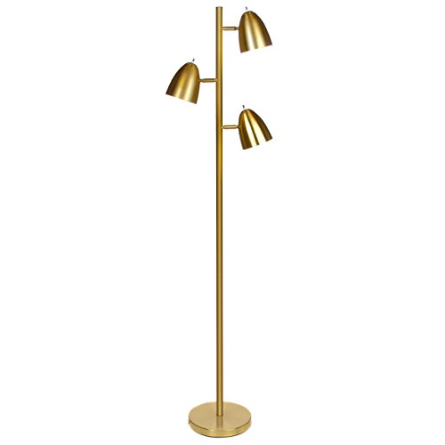 Brightech Jacob - LED Reading and Floor Lamp for Living Rooms & Bedrooms - Classy, Mid Century Modern Adjustable 3 Light Tree - Standing Tall Pole Lamp with 3 LED Bulbs - Antique Brass/Gold by Brightech