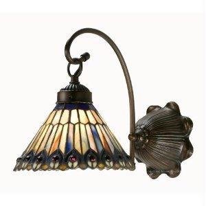 (8 Inch W Tiffany Jeweled Peacock 1 Lt Sconce Wall Sconces)