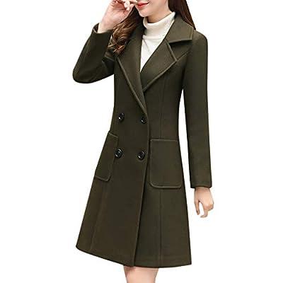 FONMA Women Wool Double Breasted Coat Elegant Long Sleeve Work Office Fashion Jacket