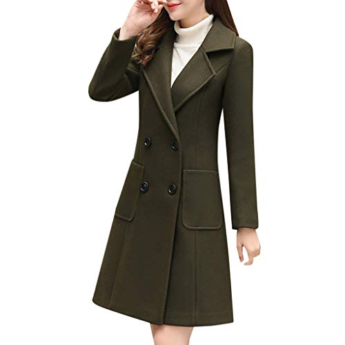 Spring Color  Womens Casual Long Sleeve Wool Blend Pea Coat Solid Casual Lapel Double-Breasted Slim Long Trench Coat Army Green