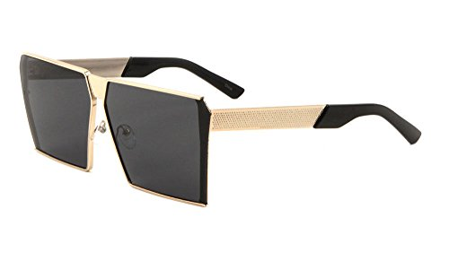XXL Large Flat Top Oversized Square Shield Sunglasses (Gold Frame, Super Dark - Gold Glasses Square Frame