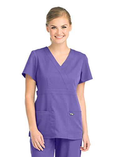 - Grey's Anatomy 4153 Women's Mock Wrap Top Passion Purple XXS
