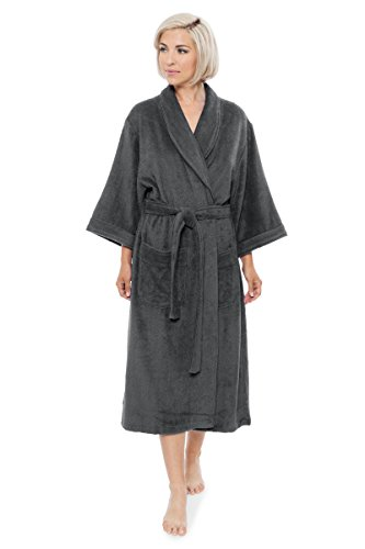 Belted Belt Bamboo (Luxury Bathrobe for Women - Women's Terry Cloth Robe - Comfy Ladies Bamboo Robe (Pewter Small/Medium) Best Hannukah Gifts, Pewter)