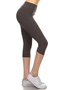 Leggings Depot Women's Yoga Gym High Waist reg/Plus 25+Colors Solid and Printed Workout Capri Leggings Pants 25+Colors