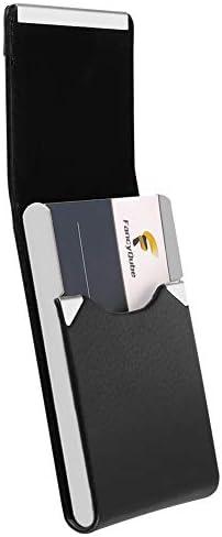 manda Stell professioneller Visitenkartenhalter PU-Leder Visitenkartenetui Namenskartenhalter Slim Metall Kartenhalter mit Magnetverschluss