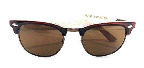 DCentral Half Metal Reddish Brown & Gold Frame, Bamboo Earpiece, Unisex Designer Sunglasses, Golden Brown Lenses UV400, 2 in Lens Width Trending - Trending Sunglasses Now