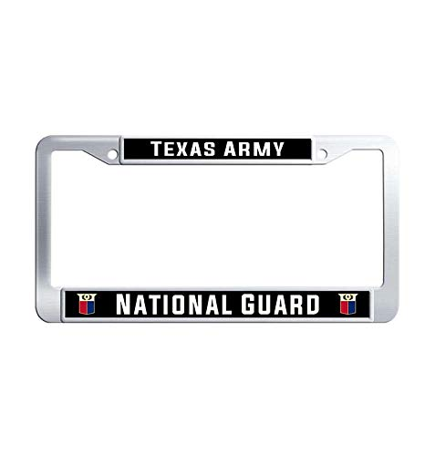 Nuoyizo Texas Army National Guard Car Licence Plate Covers Handmade Metal Waterproof Stainless Steel License Cover Holder with Bolts Washer Caps for US Standard
