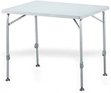 Mesa plegable ligera y ovalada de aluminio – Placa de madera de aluminio – Cierre EXCENTER – Acero robusto – Mesa de camping 130 x 90 cm – Color gris claro –