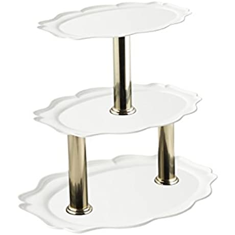 Bon Chef 2030TT Aluminum Three Tier Oval Stand 24 Length X 19 Width X 20 Height Sandstone White