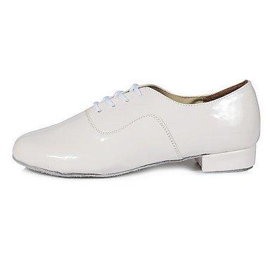 Silencio @ hombre zapatos de baile Latina de piel sintética tacón bajo práctica principiante profesional interior rendimiento blanco