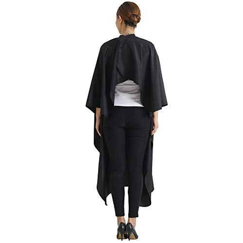 SMARTHAIR Professional Salon Cape Polyester Haircut Apron Hair Cut Cape,54''x62'',Black,C007001E-L by SMARTHAIR (Image #2)