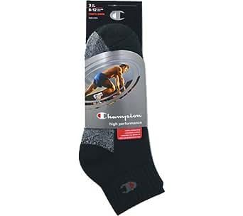 Champion Double Dry® High Performance Men's Full Cushion Quarter Socks — Extended Sizes 3-Pack (12-14, Black)