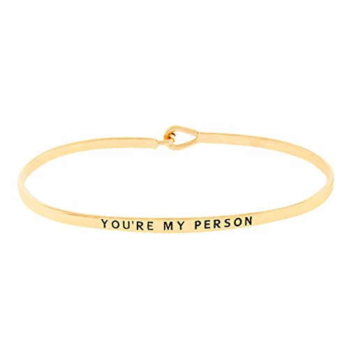 Rosemarie Collections Women's Thin Hook Bangle Bracelet You're My Person (Gold)