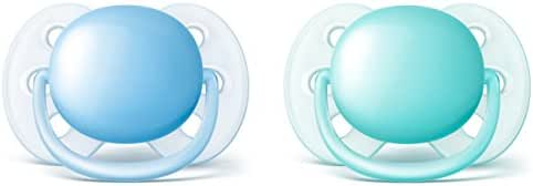 Philips Avent Ultra Soft Pacifier, 0-6 months, Blue/Teal, 2 pack, SCF212/20