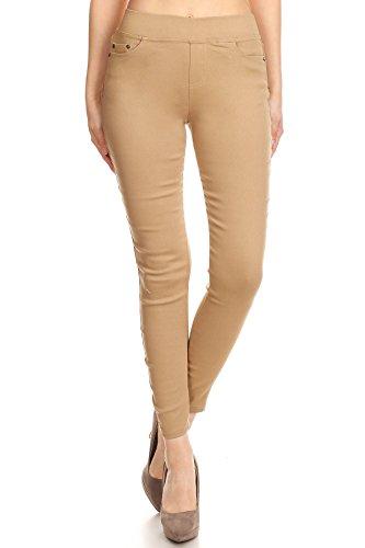 MissMissy Women's Casual Color Denim Slim Fit Skinny Elastic Waist Band Spandex Jeggings Ankle Jeans Pants (Large, Beige) by MissMissy