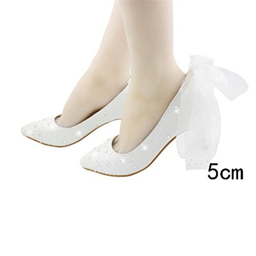 Adult Ceremony Shoes Ladies Zapatos cumpleaños Single Heel 18 puntiagudo Encaje Rhinestone Princesa Old Regalos Shallow 5cm Summer High de white QPYC Years Bowknot Mouth Crystal ZUxCwaAq