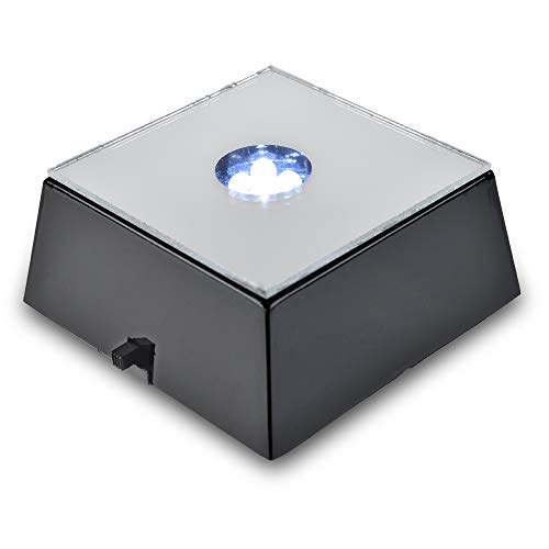 Santa Cruz Lights 4 LED Square White Light Mirror Top Stand Base for Crystals/Glass Art ()