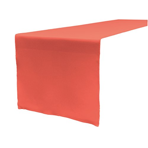 LA Linen Polyester Poplin Table Runner 14 by 108-Inch, Coral ()