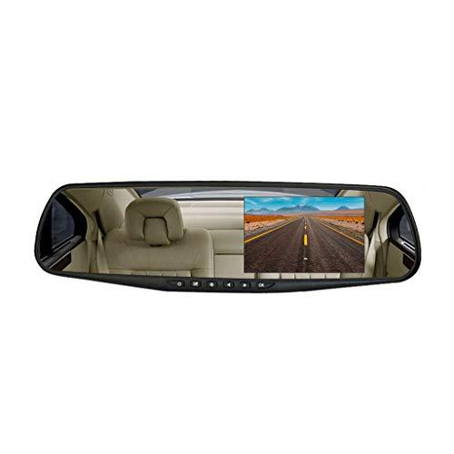 (4.3'' HD Dual Lens Car DVR Dash Cam Front and Rear Mirror Camera Video Recorder IR Camera Maoyou Black)