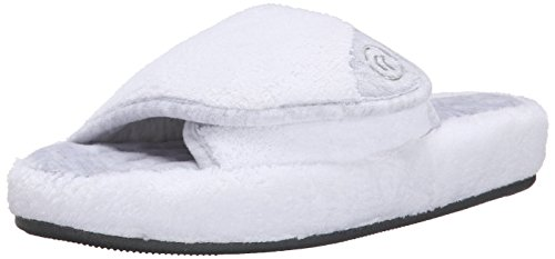 isotoner Women's Microterry Pillowstep Spa Slide, White, 7.5-8 M US (People Of Spa)