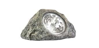 2 Outdoor Garden Beveled Rock Stone LED Solar Spot Light
