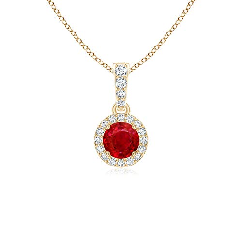 Round Ruby Dangle Pendant with Diamond Halo in 14K Yellow Gold (4mm Ruby)
