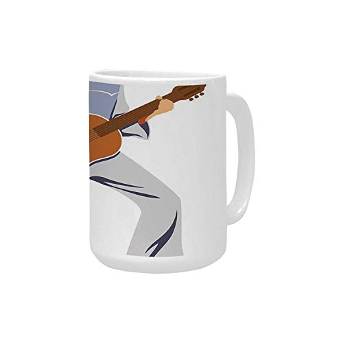 Elvis Presley Decor Ceramic Mug,Musician Artist Guitar Instrument Rock and Sound Cartoon for Home,15OZ
