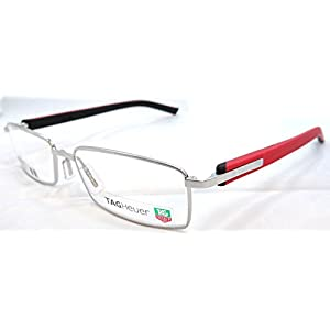 Tag Heuer Trends Rx Eyeglasses Frames Th 8006 005 55x16 Polished Silver Red
