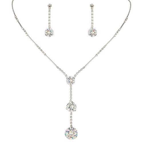 [EleQueen Women's Long Ball Round Bridal Y-Necklace Earrings Set Silver-tone Clear Austrian Crystal] (Necklaces And Earrings)