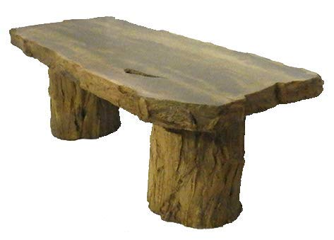 (Handmade Fossilized Bench Concrete Table, CF-302 Petrified Log Bench Cast Stone Petrified Wood Table,Outdoor Garden Patio)